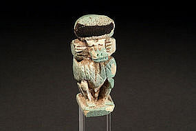 Egyptian Faience Baboon, 200-100 BC.