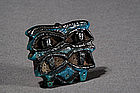 Egyptian Blue Glazed Faience Amulet, c. 1500-330 BC.