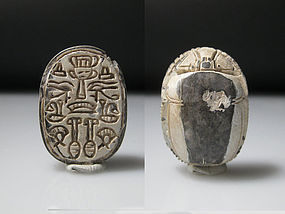 A Large Egyptian Steatite Scarab,  2,7 cm