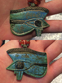 Very Huge Egyptian Faience Wedjat Eye With Necklace