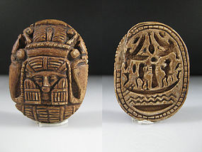 Huge and rare Egyptian Scaraboid with a Hathor Image