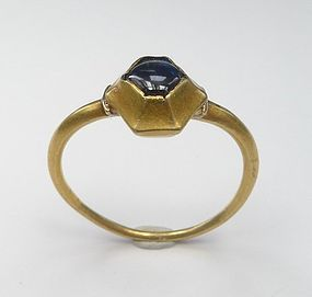 Gothic Medieval 14th Century Gold Sapphire Ring