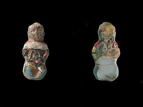Extremely Rare Egyptian Mosaic Glass Pataikos Amulet