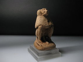 Ancient Egyptian Wooden Thoth As A Baboon