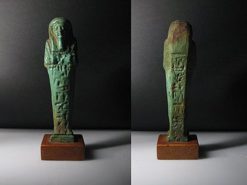 Ancient Egyptian Shabti with Hieroglyphics on the front and back