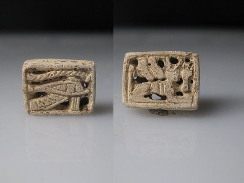 Ancient Egyptian Plaque with a Sphinx and a Wedjat Eye