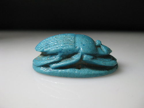 Fantastic Egyptian Blue Glazed Pectoral Scarab