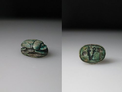 Nice Glazed Ancient Egyptian scarab for Ramesses the Great