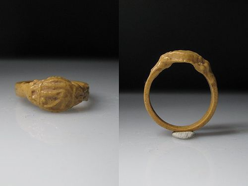 Rare Ancient Egyptian Yellow Faience Ring, New Kingdom, intact