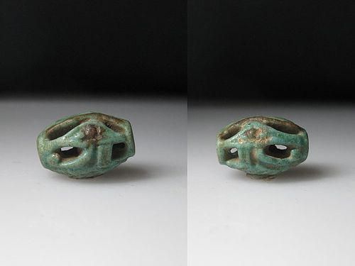 Rare Ancient Egyptian Openwork Faience Wedjat Eye Bead