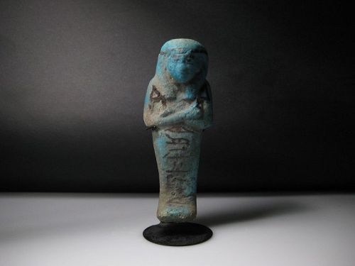 Ancient Egyptian Blue Faience Shabti for Nesy-Khonsu