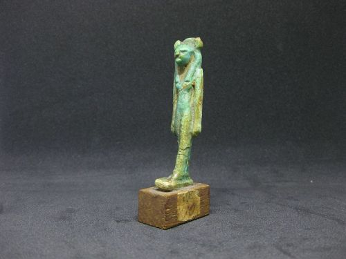 Large Ancient Egyptian Faience Sekhmet Amulet