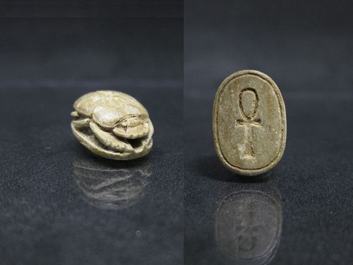 Ancient Egyptian Scarab with an Ankh