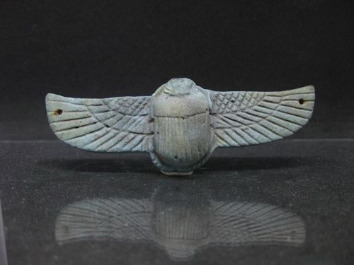 Nice Ancient Egyptian Faience Winged Scarab, 8,5 cm