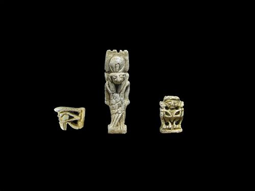 Very Rare Egyptian Amulet of the God Montu + Pataikos and Wedjat