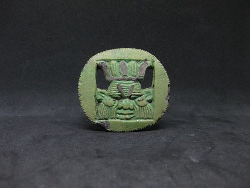 Ancient Egyptian Faience Bes Head Amulet