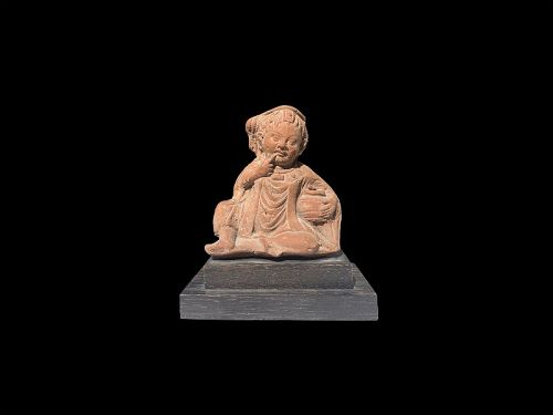 Charming Egyptian / Roman Terracotta Figure of Harpocrates