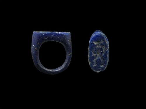 Ancient Egyptian Blue Glass Ring with Bes