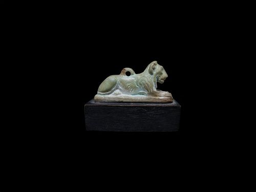 Large Ancient Egyptian Faience Amulet of a Lion