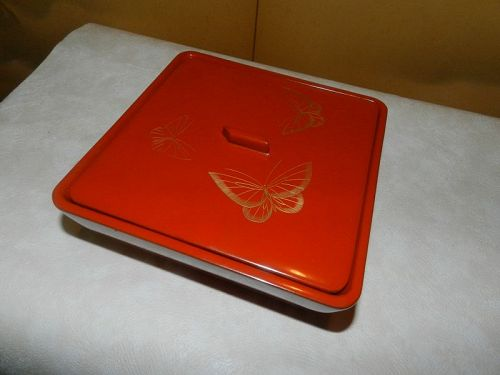 Japanese Vintage Lacquer Square Food Container Chinkin Style