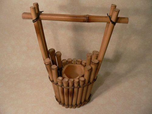 Japanese Bamboo Ikebana Basket Flower Arrangement