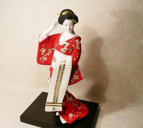Lovely Japanese Hakata Art Doll Fukuoka Bijin- Red  Kimono