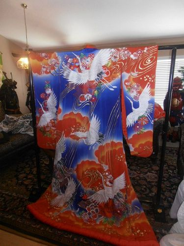 Japanese UCHIKAKE Wedding Kimono Dress  Embroidered Cranes Trees