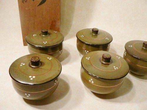 Japanese Miso Soup Bowl Pottery Kyo-Yaki Set