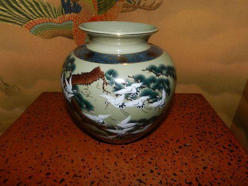 Japanese Kutani Vase Flying Cranes Motif
