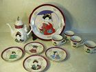 Japanese Tea Set Geisha Girls Motif Porcelain Cups