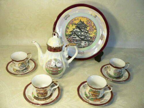 Japanese Tea Set Cups and Tea Pot Porcelain Castle Motif