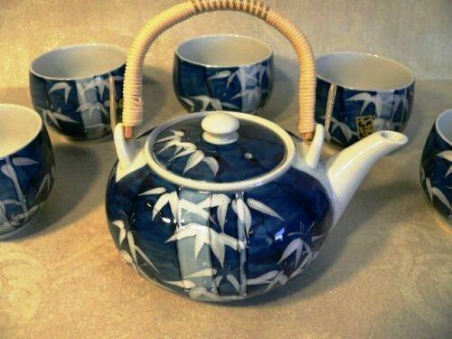 Japanese Tea Set Porcelain Gosutake Bamboo Motif