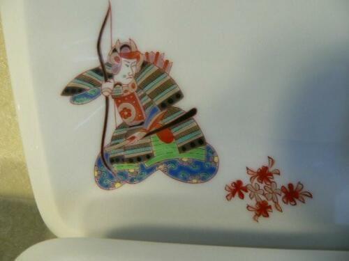 Japanese Fukugawa Square Porcelain Plate Samurai Motif
