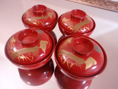 Japanese Lacquer Ware Set of 4- Rice Bowl- Soup Bowl