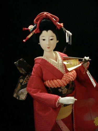 Gorgeous Japanese Geisha Doll Collectible Red Kimono Kyoto