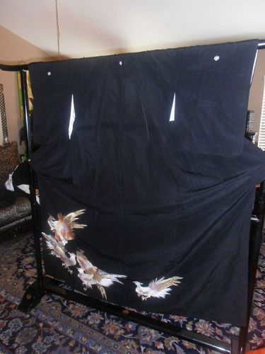 Japanese  Kuro-Tomosode Silk Kimono Embroidered Birds