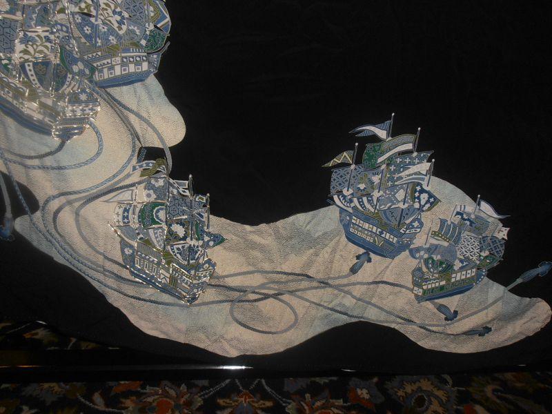 Japanese Kurotomosode Silk Kimono Ship Ocean
