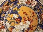 "Japanese Large Plate 16"" Beautiful Vivid Design Floral SETO Yaki"