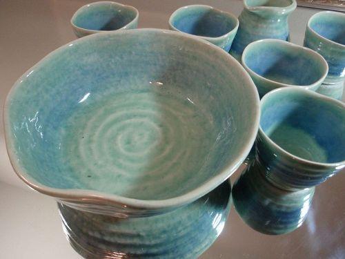 Ryukyu Okinawa Japan Pottery Yomitan-son Ceramic Soup Set