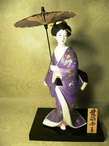 Japanese Hakata Doll Collectible Geisha Ningyo Umbrella