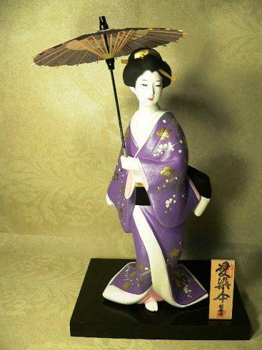 Japanese Hakata Doll Collectible Geisha Ningyo Umbrella