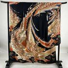 Japanese Kimono Furisode Silk Festival Float Noshi Gold Beautiful