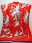 Japanese Uchikake Kimono Wedding Red with Cranes Embroidered