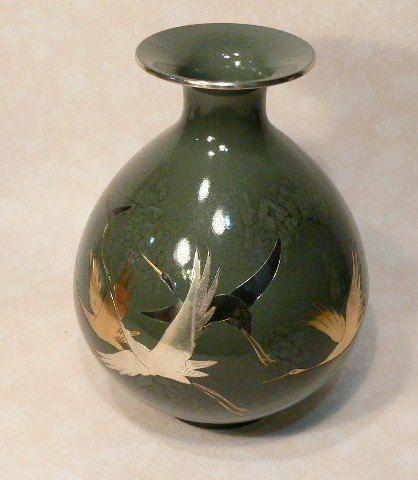 Lovely Japanese Vase Pottery Flying Cranes Silver Gold Colors Vintage