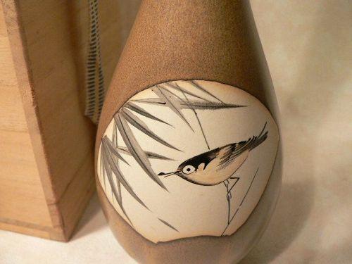 Japanese Kyo Ware Pottery Vase Bird Motif