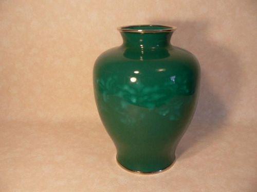 Japanese Vase Porcelain Green with Silver Rim Flower Vase