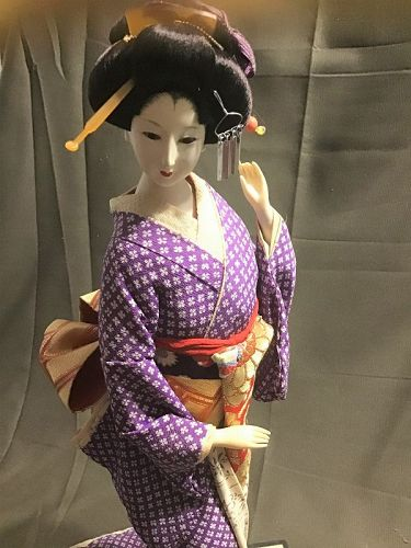 Lovely Japanese Geisha DOLL Gofun Vintage Purple Kimono