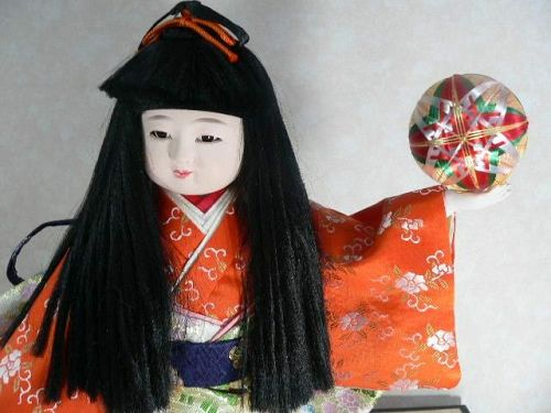 Cute Japanese Ichimatsu Doll Festival Holding Tamari Ball