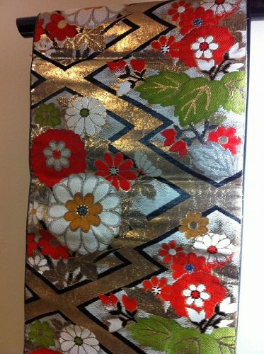 Japanese Maru Obi Sash for Kimono Red Black Floral
