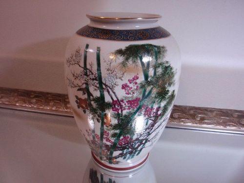 Lovely Japanese Vase Kutani Yaki Flower Vase Bamboo Motif